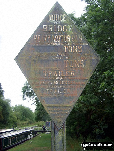 Sign on the Kennet and Avon Canal at Great Bedwyn. Walk route map wi102 Wilton Windmill from Great Bedwyn photo