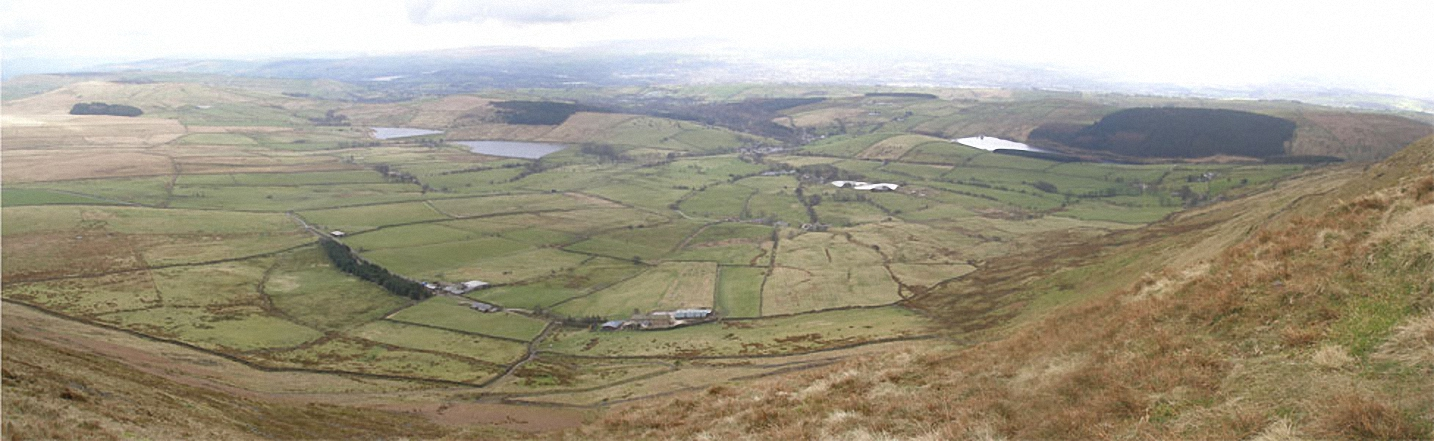 Looking East from the summit of Pendle Hill (Beacon or Big End)