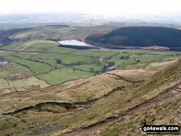 Ogden Reservoirs from the summit of Pendle Hill (Beacon or Big End)
