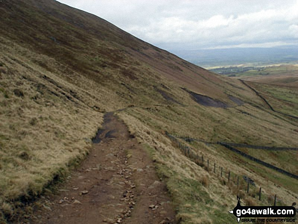 The East face path up of Pendle Hill (Beacon or Big End)