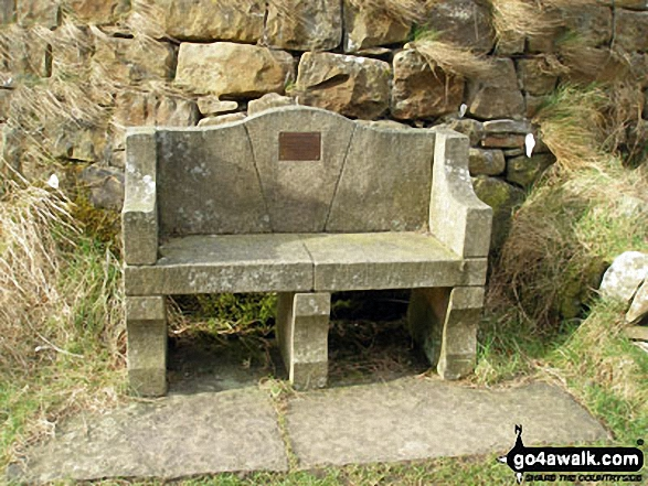 Memorial seat on the Pendle Way near the North end of Lower Ogden Reservoir