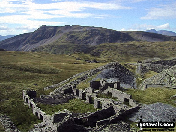 Rhosydd Quarry ruins with Cnicht (left) and Cnicht (North Top) beyond