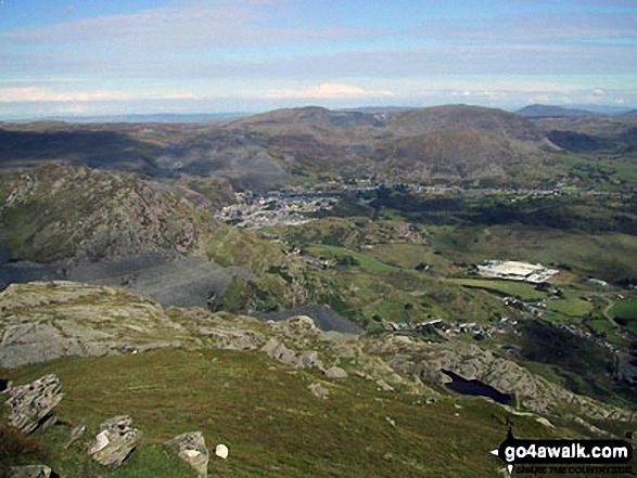 Blaenau Ffestiniog with Manod Mawr beyond from the summit of Moel-yr-hydd