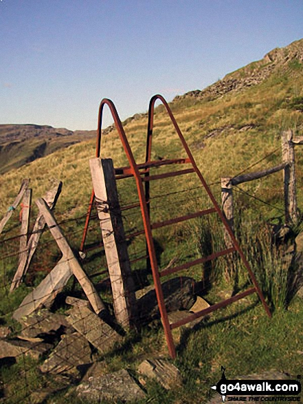 Old rusting ladder stile on the lower slopes of Moelwyn Bach