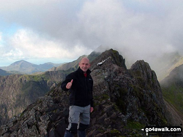 Yours truly on Crib Goch. Walk route map gw198 The Welsh 3000's (Snowdon Area) from Pen y Pass photo