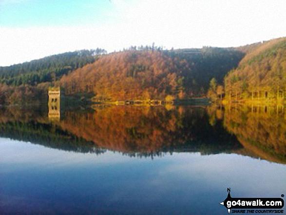 Autumn sunshine on Derwent Reservoir. Walk route map d260 Back Tor from Fairholmes Car Park, Ladybower Reservoir photo