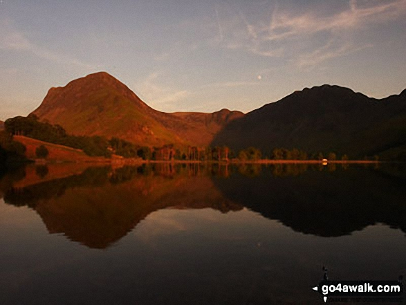 Fleetwith Pike (left) and Hay Stacks (right) across Buttermere Lake from Hassness