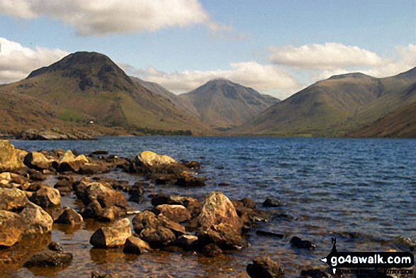Kirk Fell (left), Great Gable (centre) and Lingmell from across Wast Water. Walk route map c271 The Scafell Massif from Wasdale Head, Wast Water photo