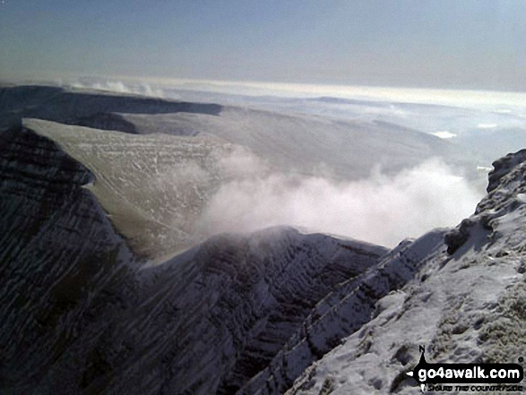 Cribyn from Pen y Fan in the snow