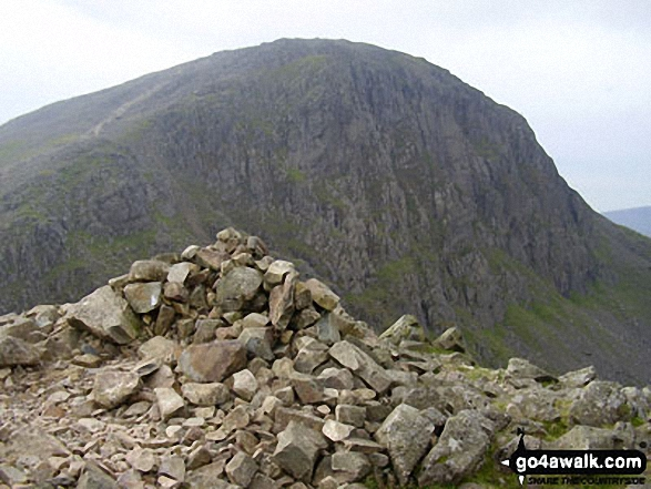 The summit cairn on Green Gable with Great Gable beyond. Walk route map c442 Great Gable and Green Gable from Honister Hause photo