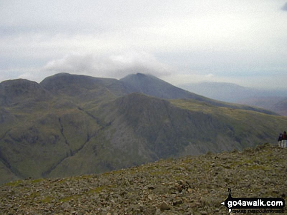 Great End, Scafell Pike and Sca Fell from Great Gable summit. Walk route map c141 Great Gable and Pillar from Wasdale Head, Wast Water photo