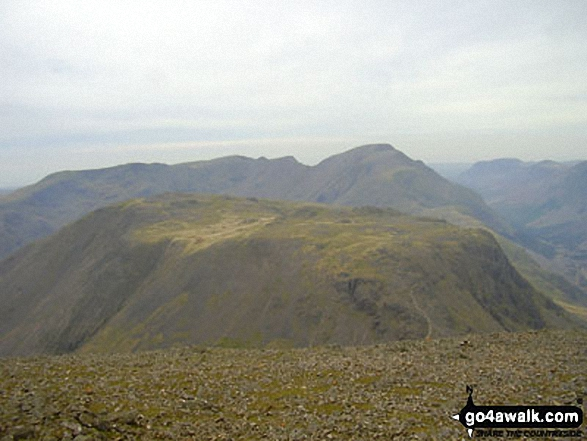Kirk Fell with Pillar and Little Scoat Fell beyond from Great Gable summit. Walk route map c141 Great Gable and Pillar from Wasdale Head, Wast Water photo