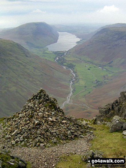 Wast Water and The Wasdale Valley from Westmorland Cairn, Great Gable. Walk route map c141 Great Gable and Pillar from Wasdale Head, Wast Water photo