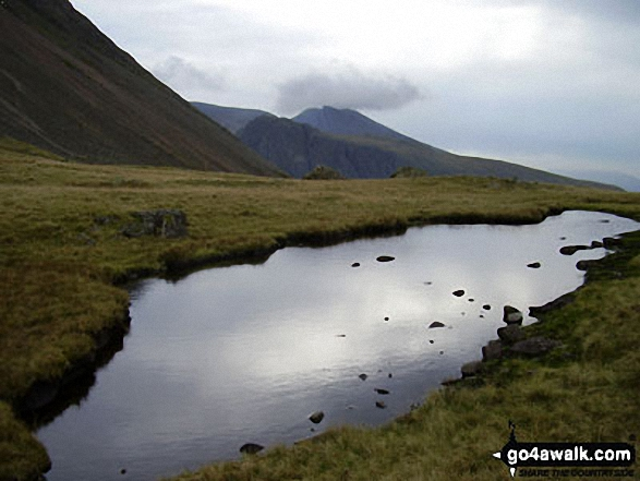 Beckhead Tarn on Beck Head. Walk route map c141 Great Gable and Pillar from Wasdale Head, Wast Water photo