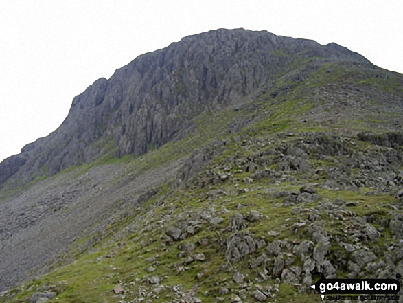 Great Gable towering above Moses' Trod. Walk route map c141 Great Gable and Pillar from Wasdale Head, Wast Water photo