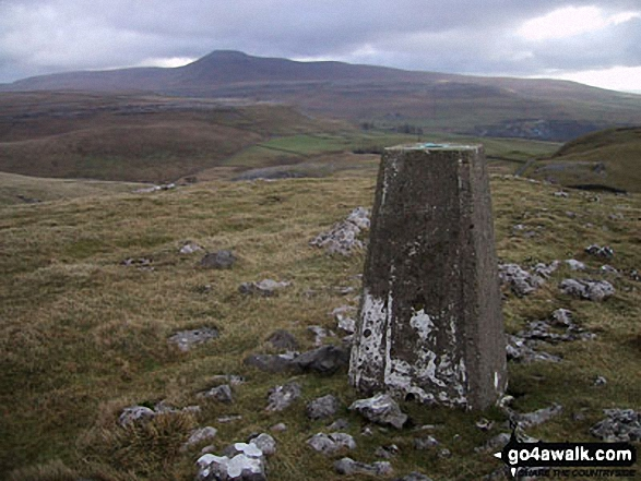 Tow Scar Trig Point with Ingleborough on the horizon