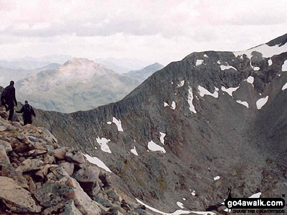 The Carn Mor Dearg (CMD) Arête. Walk route map h137 Ben Nevis and Carn Mor Dearg from Achintee, Fort William photo