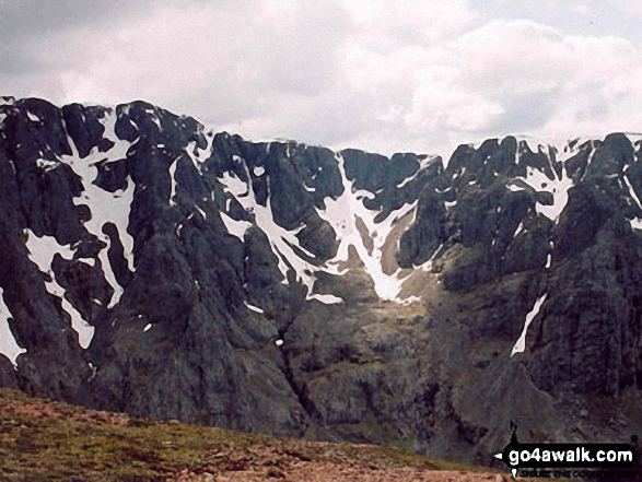 The North Face of Ben Nevis from Carn Mor Dearg. Walk route map h154 Ben Nevis and Carn Mor Dearg from The Nevis Range Mountain Gondola photo