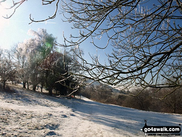 In the frozen Malvern Hills between North Hill (Malverns) and Worcestershire Beacon