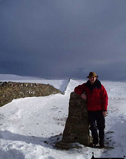 Me on Pen-y-ghent - the first summit in The Yorkshire Dales North Yorkshire England