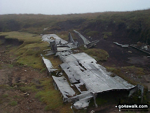 The remains of a crashed aircraft on Mill Hill (Ashop Head). Walk route map d186 Kinder Scout and Kinder Downfall from Bowden Bridge, Hayfield photo