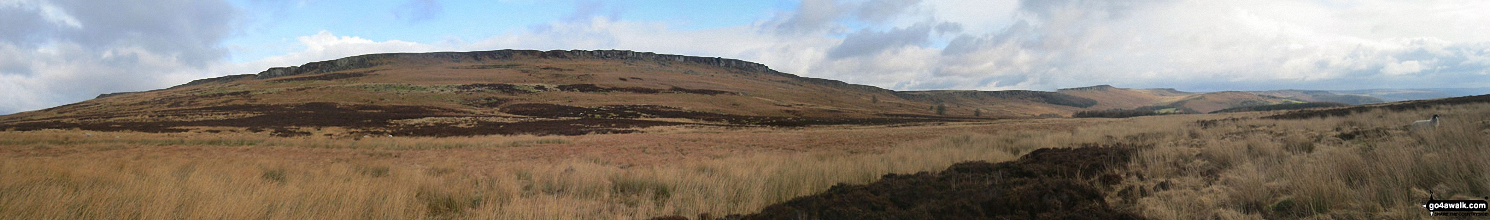 High Neb (Stanage Edge) (left), Stanage Edge and Stanage Edge (Stanage Edge) (right - distance) from Moscar Moor