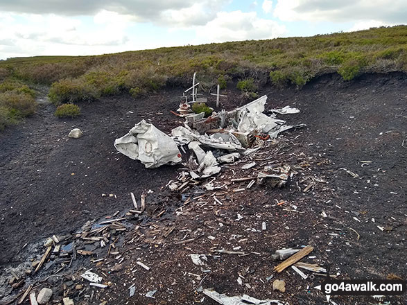 Wreckage of the crashed Airspeed Consul TF-RPM aircraft on Crow Stones Edge