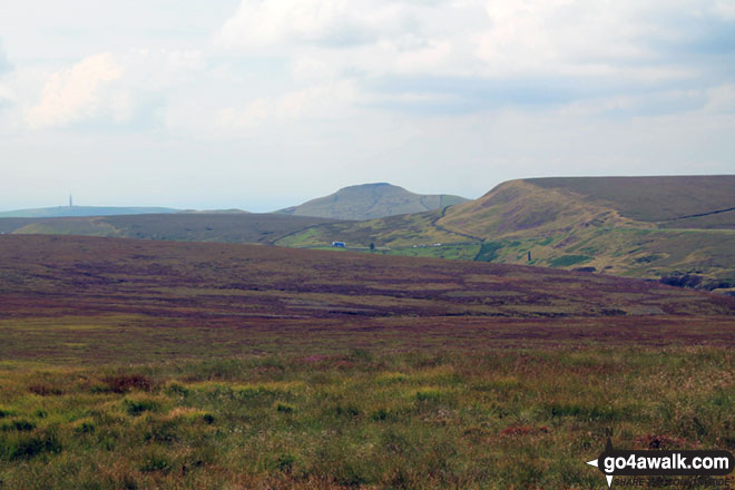 Croker Hill (mast far left), Shutlingsloe (centre right) and Whetstone Edge (right) from Axe Edge (Axe Edge Moor)