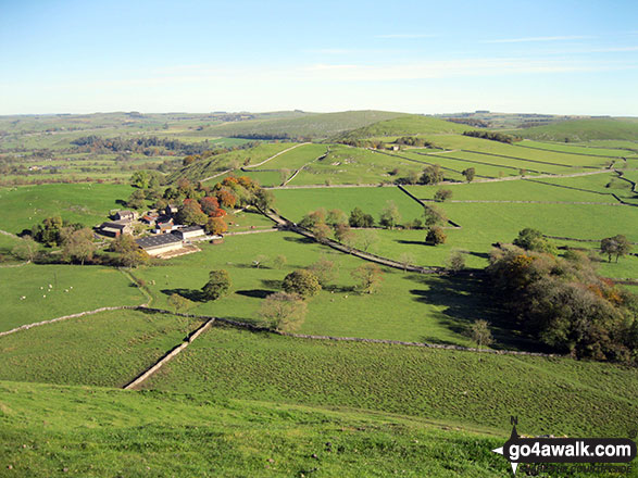 Gateham Grange, Narrowdale Hill (centre) and Gratton Hill (far right) from the summit of Wetton Hill