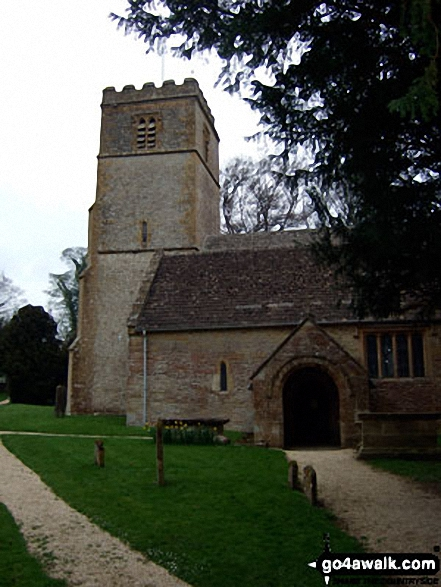 Broadwell Church. Walk route map gl154 Donnington from Stow-on-the-Wold photo