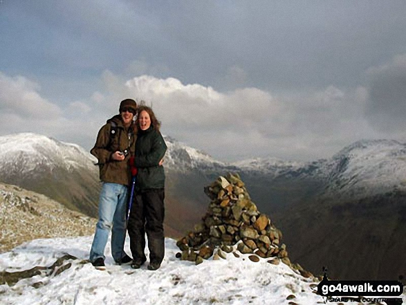 My Daughter & Son-in-law on top of Yewbarrow in the snow
