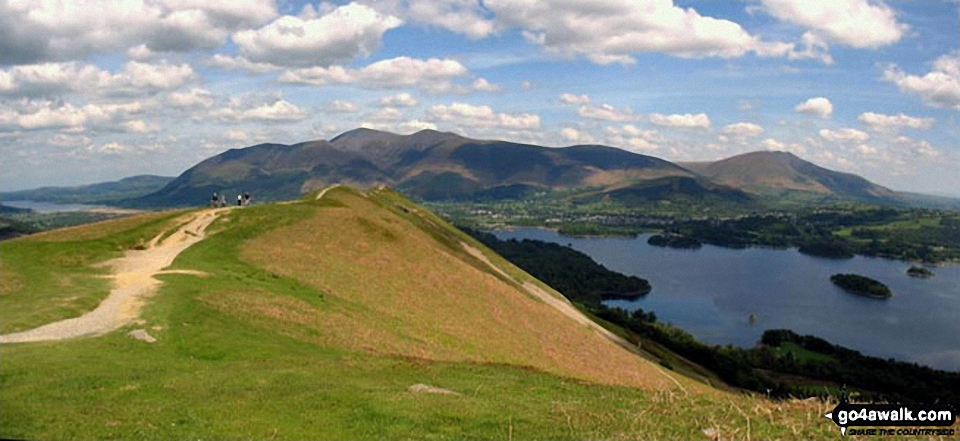 Bassenthwaite Lake (far left), Skiddaw (left), Blencathra (or Saddleback) (right), Keswick and Derwent Water from Cat Bells (Catbells)