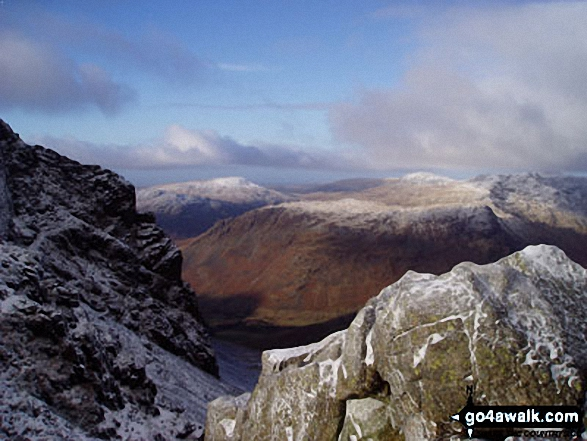 Yewbarrow from Scafell Pike. Walk route map c454 Scafell Pike via The Corridor Route from Seathwaite photo