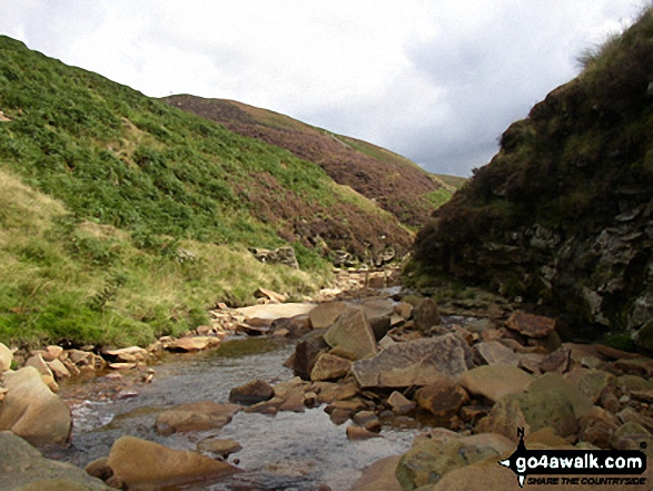 River Ashop. Walk route map d320 Mill Hill from Birchin Clough photo
