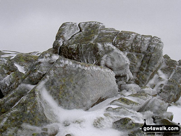 Ice on Scafell Pike. Walk route map c271 The Scafell Massif from Wasdale Head, Wast Water photo