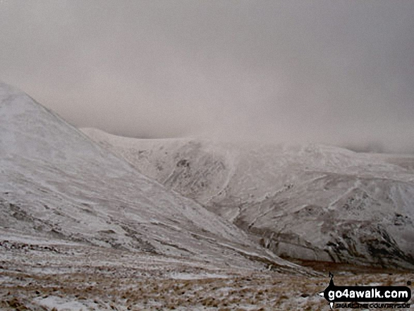Catstye Cam (shoulder left) and Raise (Helvellyn) above Keppel Cove from Red Tarn Beck in the snow
