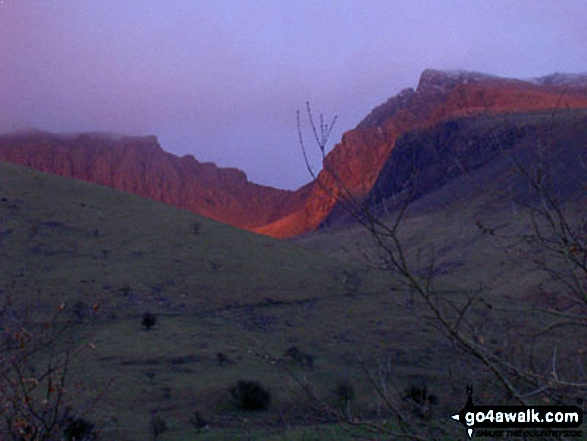 The setting sun on Scafell Pike from Wasdale Head