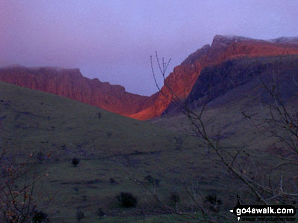 Sunset on Scafell Pike, Mickledore and Sca Fell from Wasdale. Walk route map c101 Pillar and Little Scoat Fell from Wasdale Head, Wast Water photo
