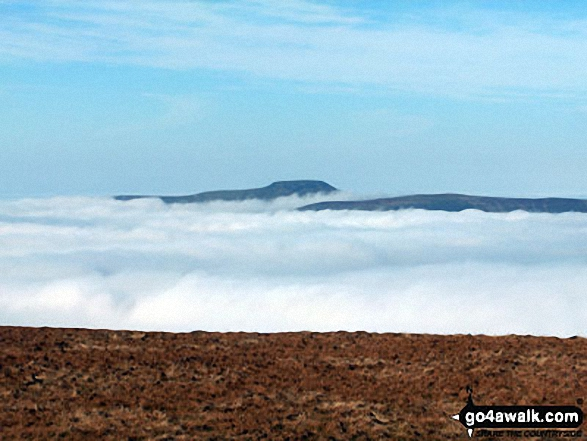 Ingleborough and Simon Fell as seen from Pen-y-Ghent during temperature inversion