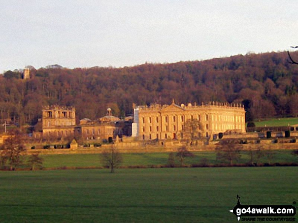 Chatsworth House - setting for the BBC's 'Death Comes to Pemberley' drama - enjoying some late afternoon winter sun