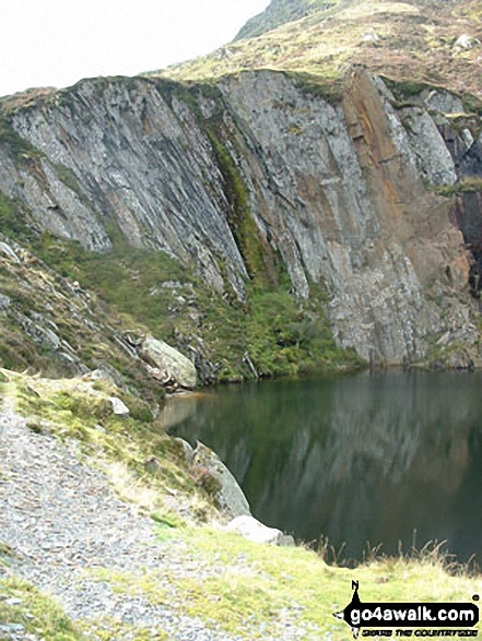 Quarry pool by the Miners' track on the lower NE slopes of Carnedd Moel Siabod. Walk route map cw214 Carnedd Moel Siabod from Pont Cyfyng, Capel Curig photo