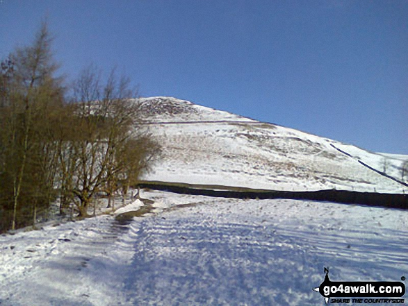 The Nab from Edale in the snow. Walk route map d296 Jacob's Ladder and Kinder Scout from Edale photo