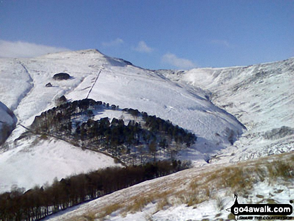 Grindslow Knoll (Kinder Scout) and Grindsbrook Clough under a blanket of snow from The Nab