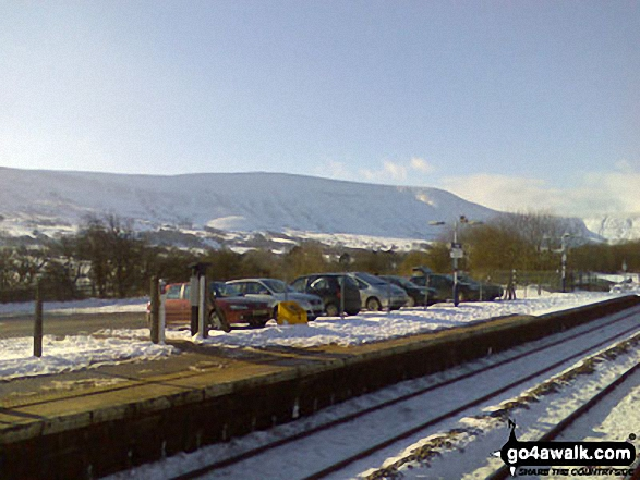 Lord's Seat in the snow from Edale Station. Walk route map d296 Jacob's Ladder and Kinder Scout from Edale photo