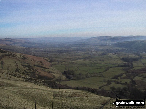 The Vale of Hope from Mam Tor. Walk route map d118 Lose Hill (Ward's Piece), Back Tor (Hollins Cross) and Castleton from Hope photo