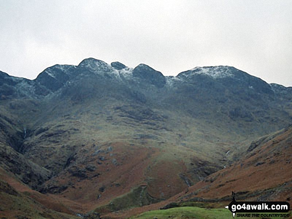 Crinkle Crags (Long Top), Crinkle Crags (Gunson Knott), Shelter Crags and Shelter Crags (North Top) from Great Langdale