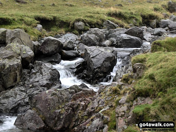 Rossett Gill. Walk route map c416 Scafell Pike from The Old Dungeon Ghyll, Great Langdale photo