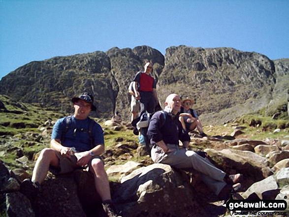 Below Great End near Sprinkling Tarn. Walk route map c370 Scafell Pike from Seathwaite photo