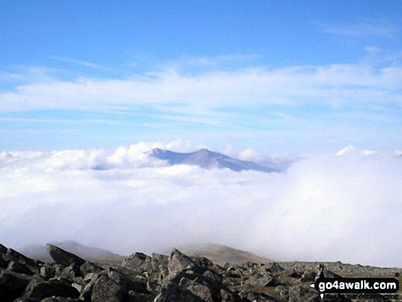 The Glyderau (Glyders) poking up through the clouds from the summit of Carnedd Moel Siabod
