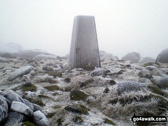 West Nab summit Trig Point, Meltham Moor. Walk route map wy106 West Nab and Horseley Head Moss from Meltham photo